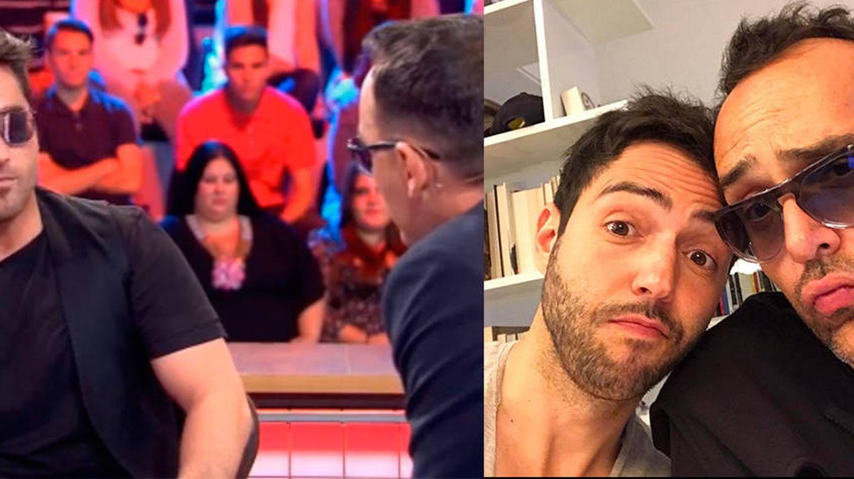 Bustamante en el programa 'All you need is love... o no' y Risto con Guapo en una imagen de Instagram.