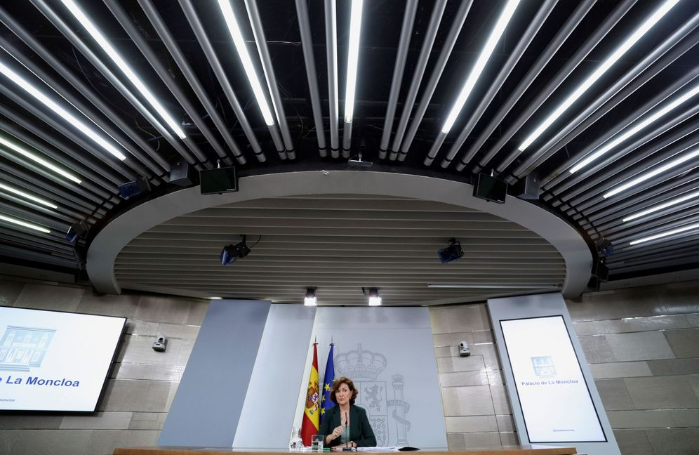 Foto: La vicepresidenta en funciones, Carmen Calvo, durante su rueda de prensa de este 31 de octubre. (EFE)