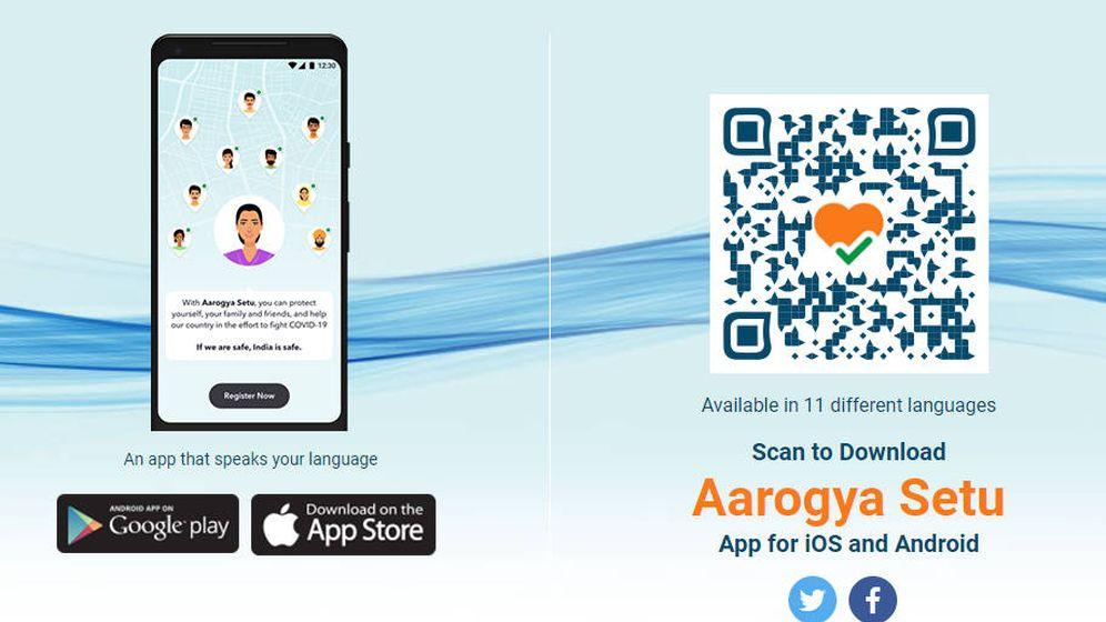 Foto: Aarogya Setu, la polémica app de rastreo. Foto: Gobierno de la India
