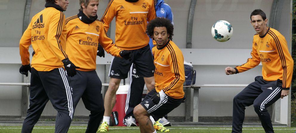 Foto: Marcelo en un entrenamiento del Real Madrid. (Efe)