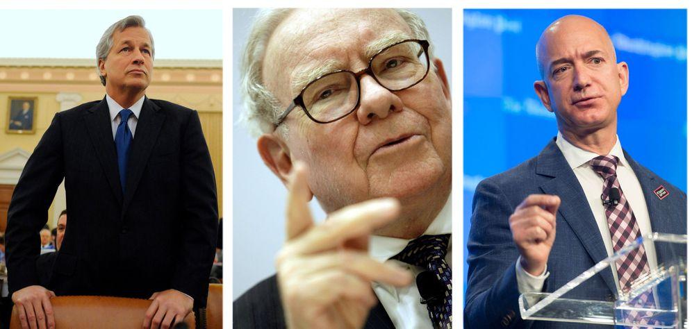 Foto: El presidente de JP Morgan Chase, Jamie Dimon, Warren Buffett y el máximo directivo de Amazon, Jeff Bezos. (EFE)