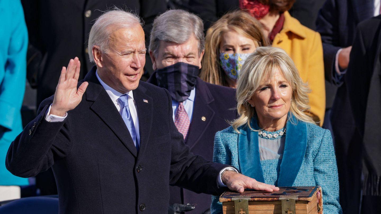 Joe y Jill Biden, durante la toma de posesión. (Getty)