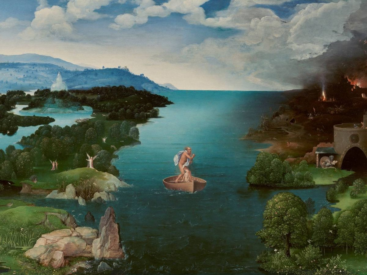 Foto: 'El paso de la laguna Estigia'. Joachim Patinir. 1520-1524. Museo del Prado.