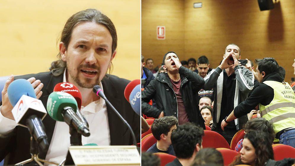 Foto: Pablo iglesias ha sido abucheado por un grupo estalinista en la Universidad Complutense. (EFE)