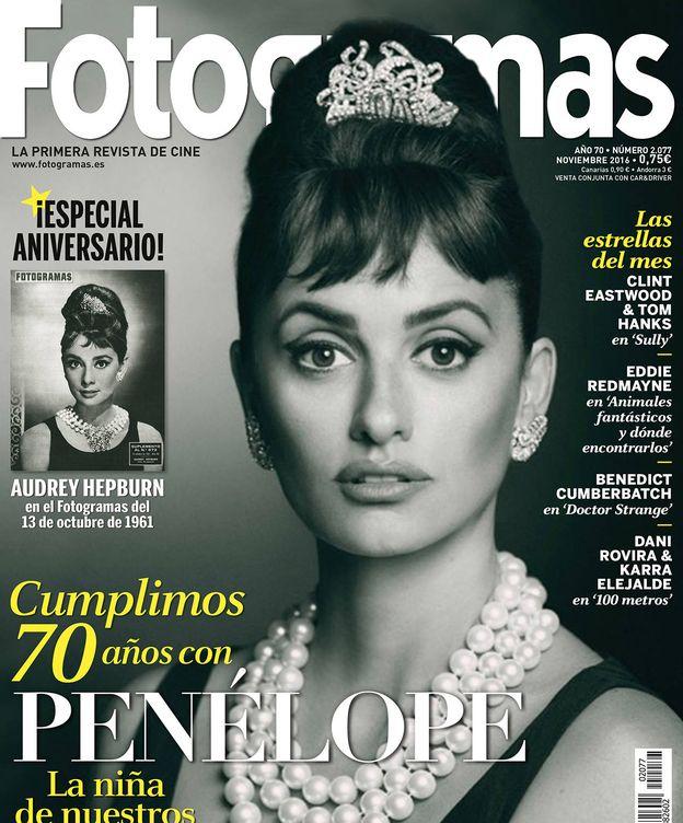 Foto: Penélope Cruz en la portada de 'Fotogramas' a lo Audrey Hepburn