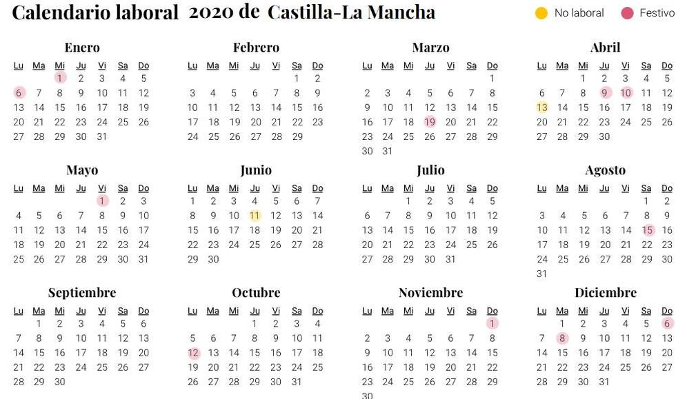 Calendario Diario 2020.Calendario Laboral 2020 De Castilla La Mancha San Jose