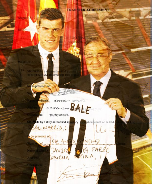Foto: Bale junto a Florentino Pérez en su presentación.