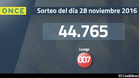 Resultados del sorteo de la ONCE del 28 noviembre 2016: número 44.765