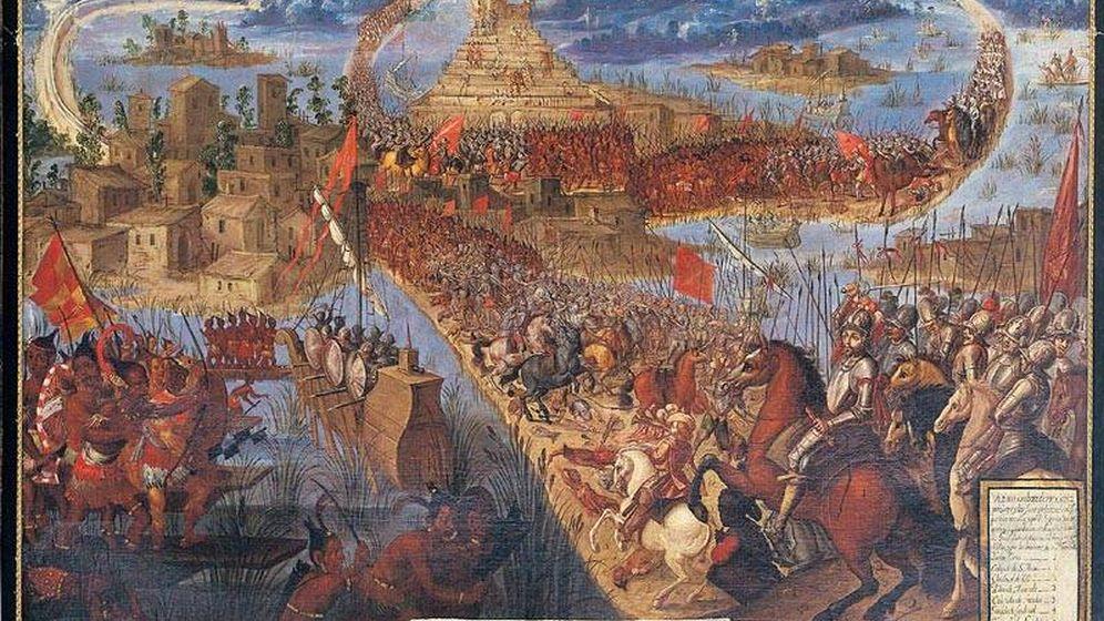 Foto: La conquista de Tenochtitlan.
