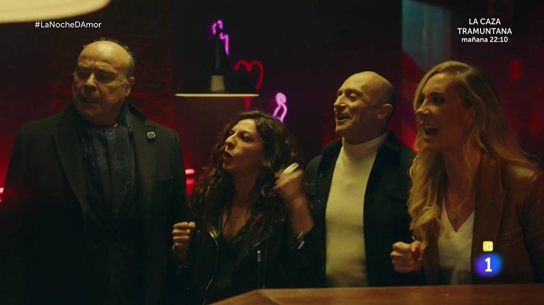 Antonio Resines, Cristina Medina y Pepe Vituela, en 'La noche D'. (TVE)