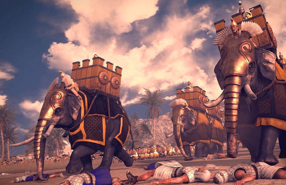 Foto: Elefantes de guerra en la batalla de Rafia según una recreación de Total War Rome II