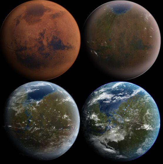 Foto: La hipotética terratransformación de Marte. (Wikipedia)