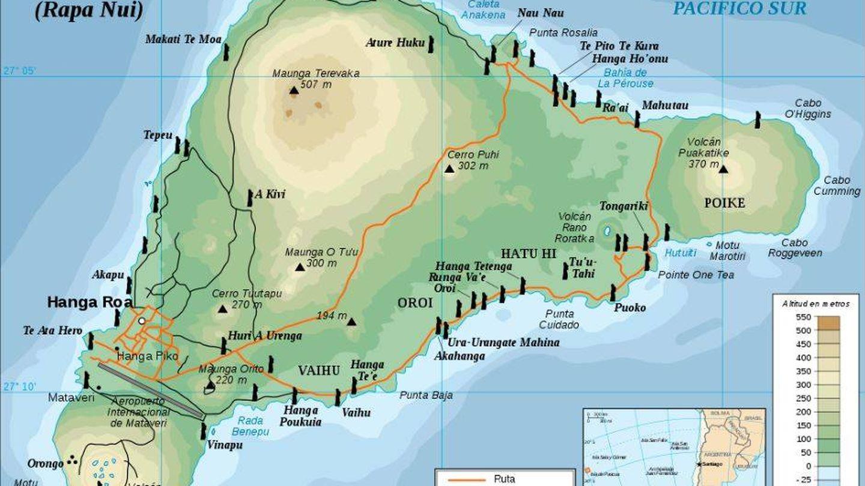 Ubicación de los moái en la Isla de Pascua (Eric Gaba)