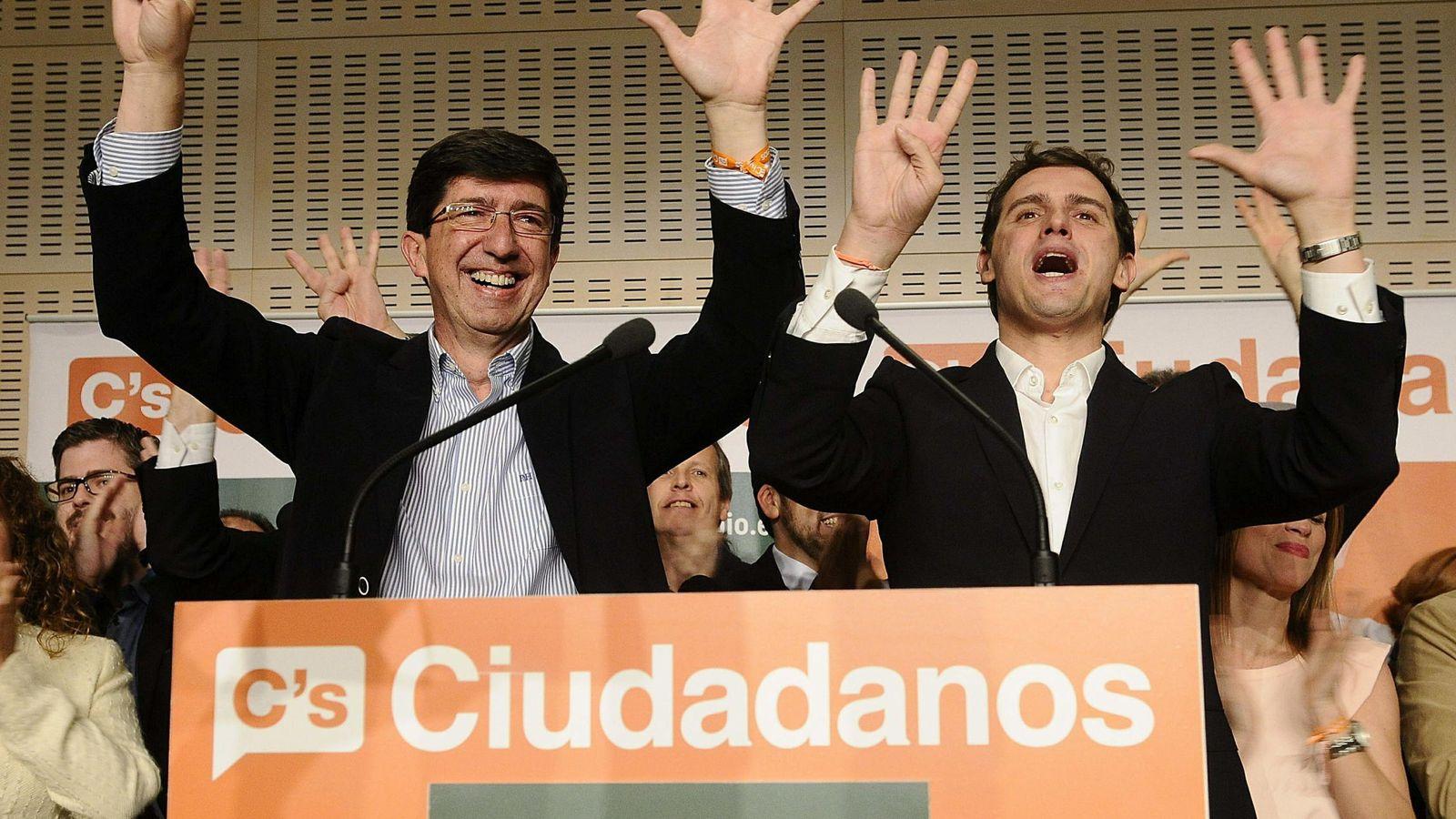 Foto: El candidato de Ciudadanos a la Presidencia de la Junta de Andalucia, Juan Marín, acompañado por el líder nacional, Albert Rivera. (Efe)