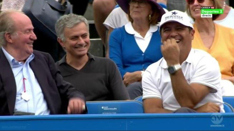 El Rey Juan Carlos y Mourinho apoyan a Rafa Nadal en el torneo de Queen's