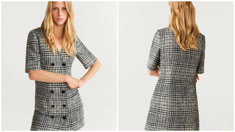 No dejes escapar este vestido de cuadros de Mango Outlet. (Cortesía)