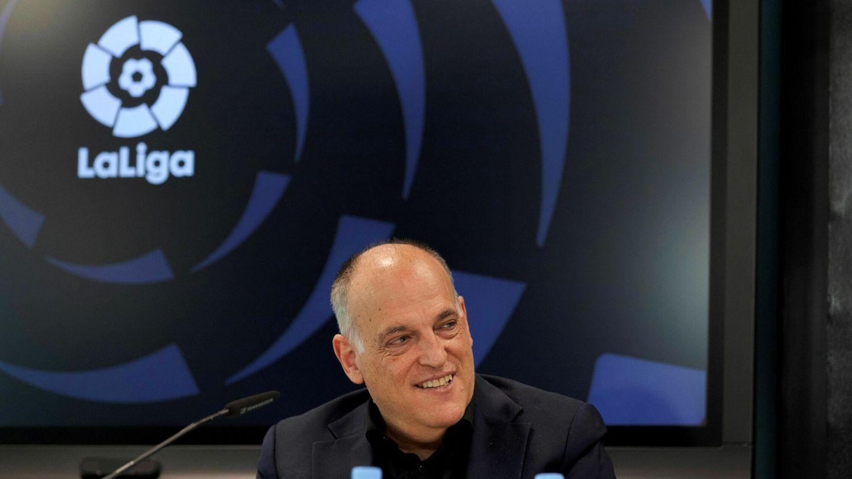 El presidente de LaLiga, Javier Tebas, después de la aprobación del acuerdo con CVC. (Efe)