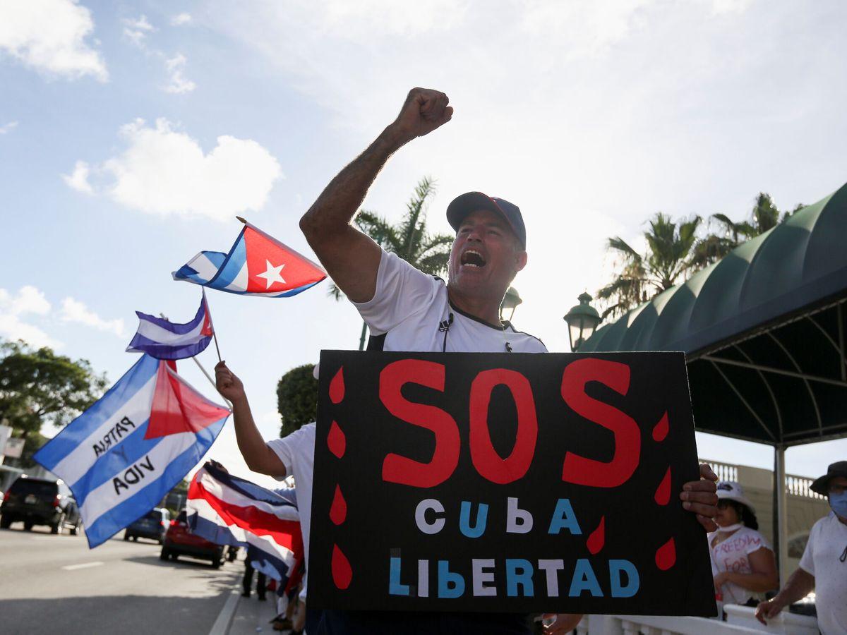 Foto: Protestas contra el régimen cubano en Miami. (Reuters)