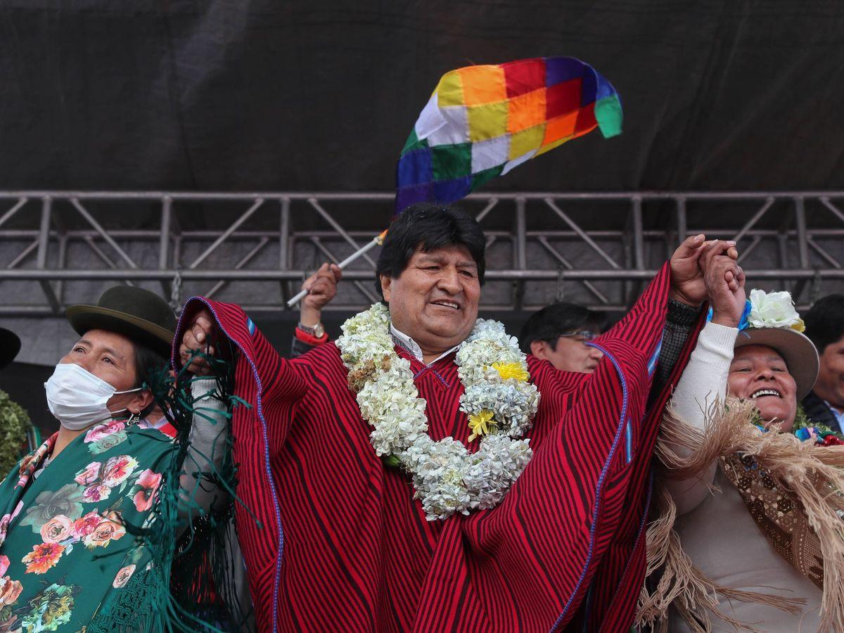 Foto: Evo Morales, a su regreso a Bolivia. (EFE)