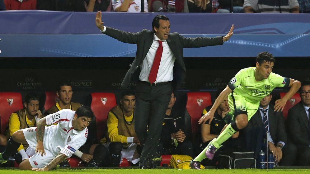Foto: Jesús Navas, en el partido del City contra el Sevilla en el Sánchez Pizjuán. (EFE)