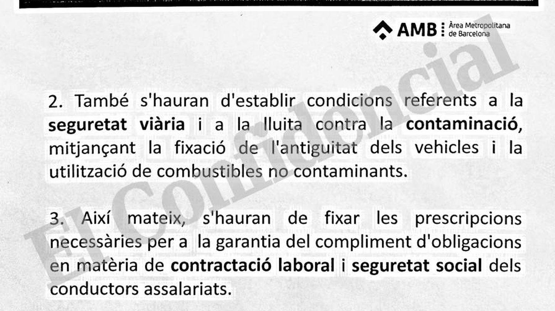 Documento interno del AMB sobre las nuevas restricciones a las VTC.