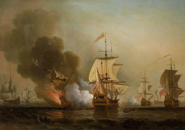 Foto: 'Acción frente a Cartagena'. Cuadro del pintor inglés Samuel Scott (1702-1772) que representa la batalla en la que se hundió el galeón español 'San José'. (National Maritime Museum, Greenwich, London, Caird Collection)