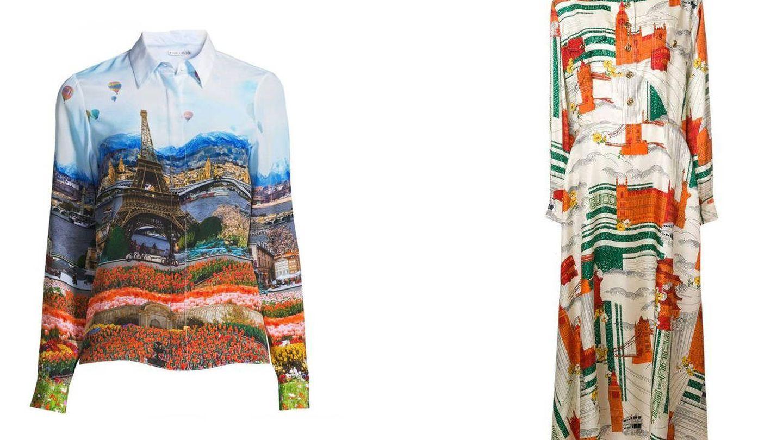 La camisa de 'Emily in Paris' y el vestido de Melania. (Alice+Olivia / Gucci)