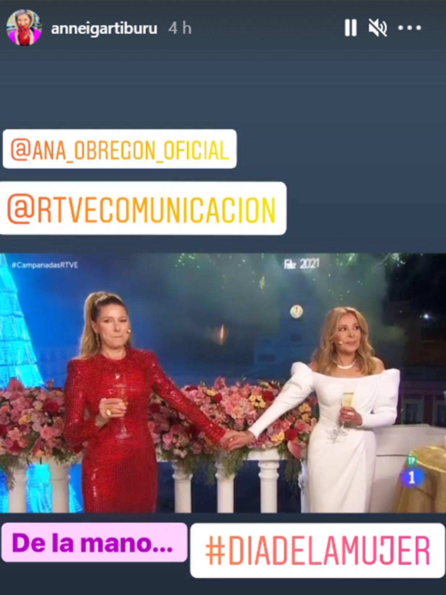 Anne Igartiburu ha querido recordar las campanadas junto a Ana Obregón en este 8-M. (Instagram @anneigartiburu)