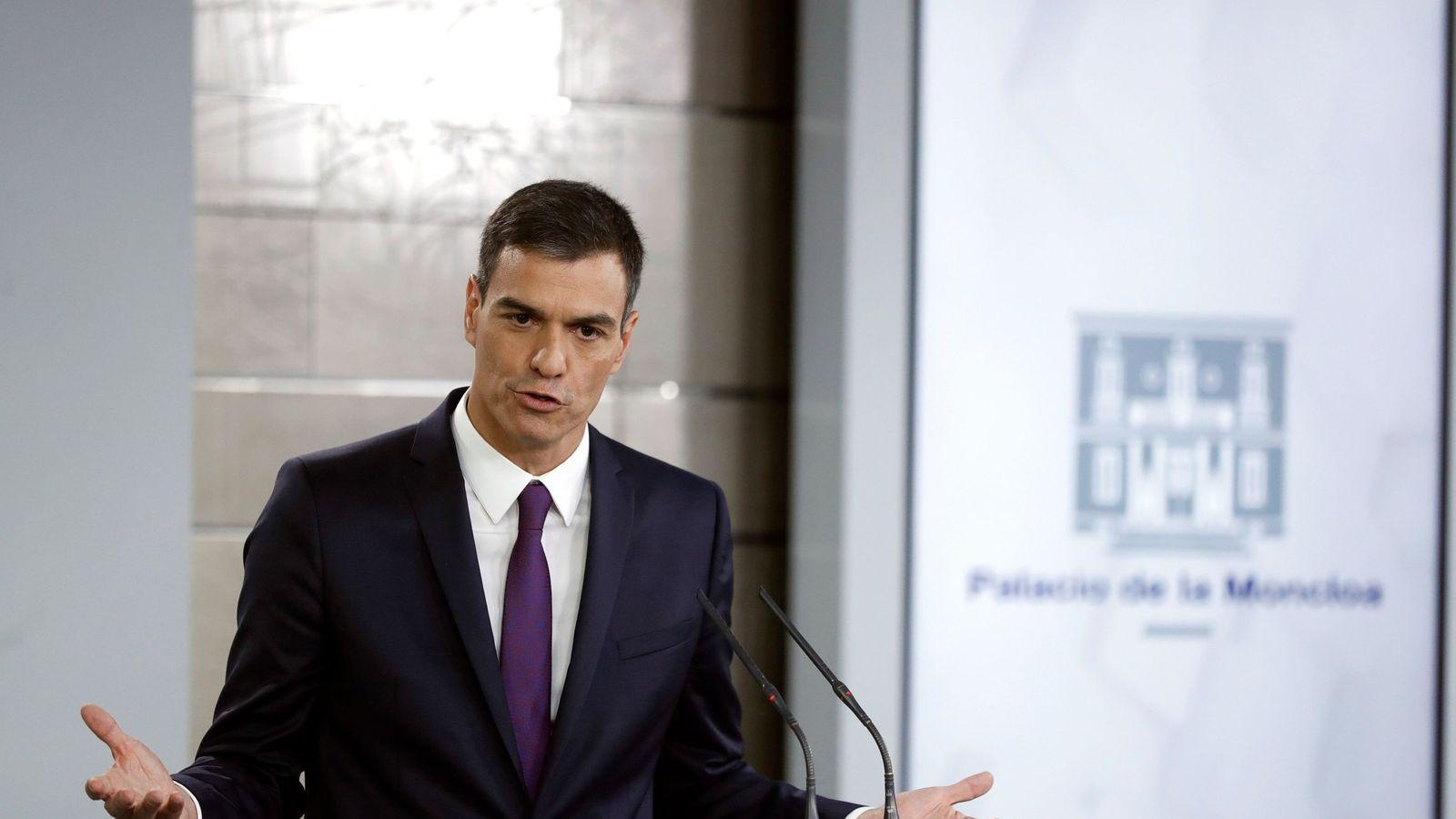 Foto: Pedro Sánchez haciendo balance de su gestión. (Efe)