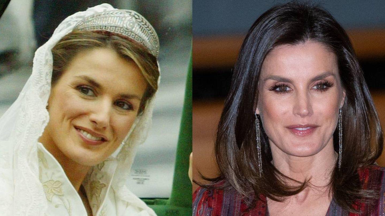 La reina Letizia, el día de su boda (2004) y en 2019. (Getty)