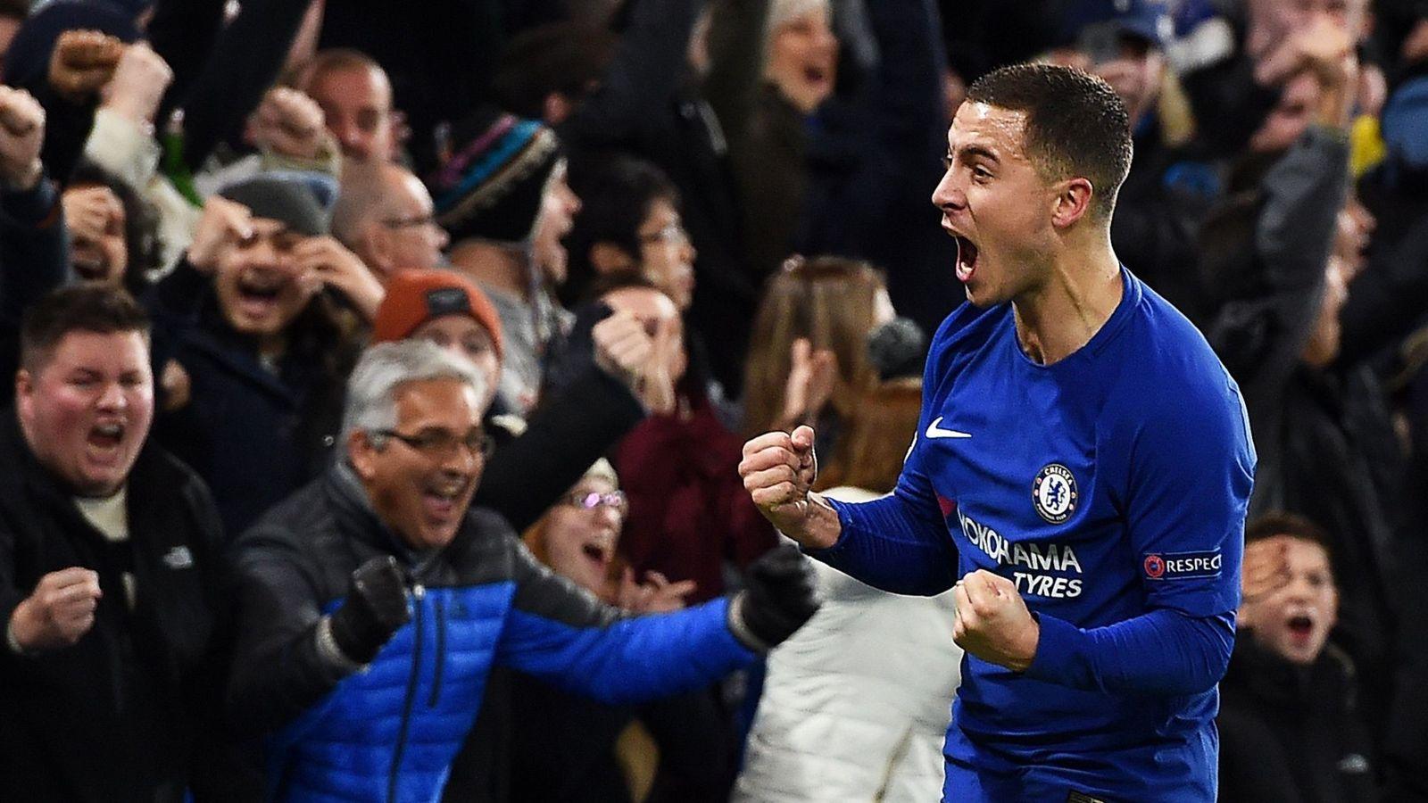 Foto: Hazard celebra un gol marcado esta temporada. (EFE)