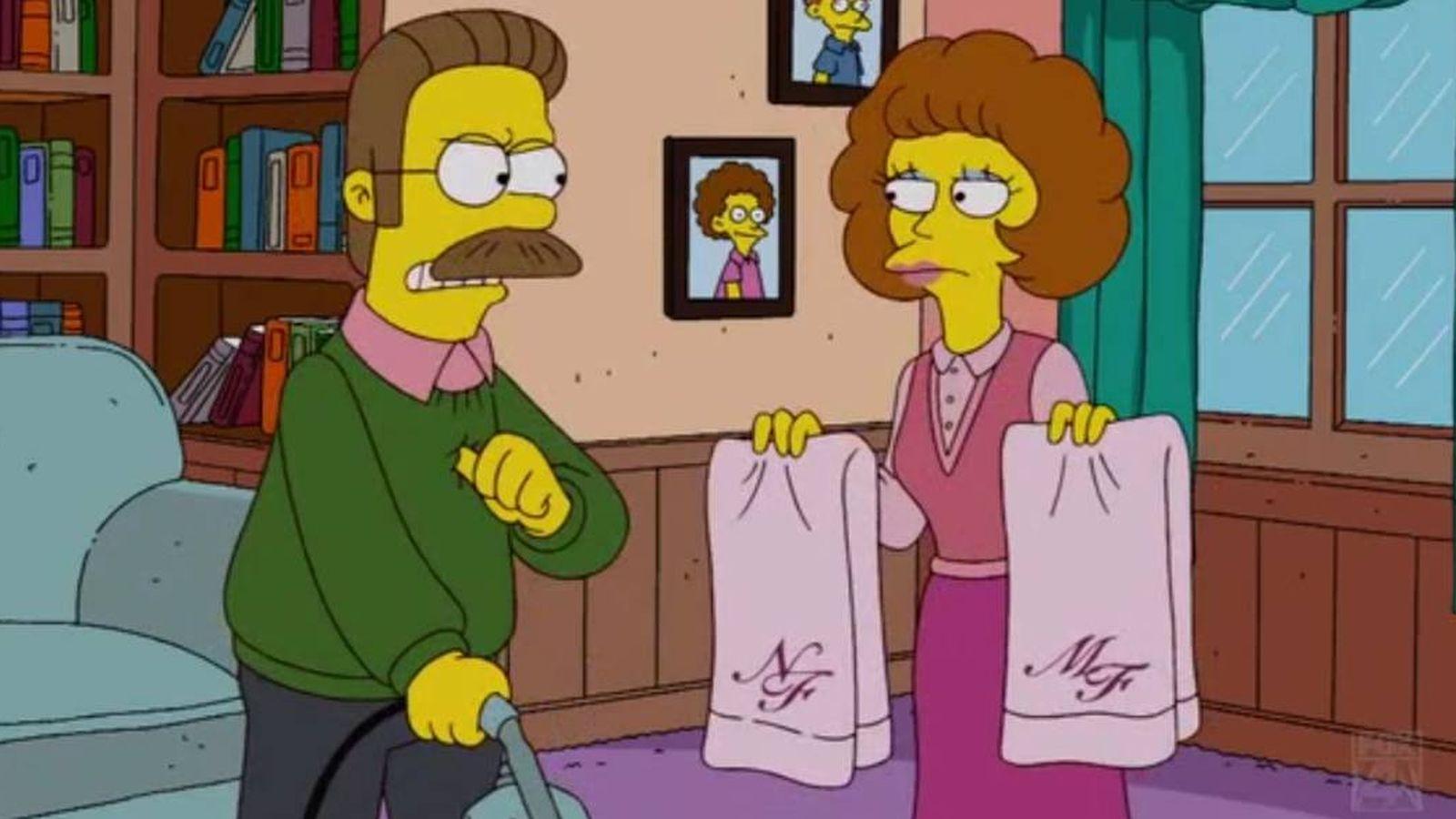 Foto: El matrimonio Flanders en 'Los Simpson'. (Fox)