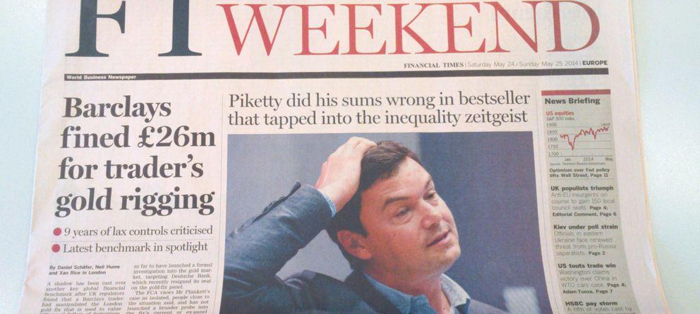 Foto: Portada del FT con el artículo en el que desmonta la tesis de Piketty. (E.C.)