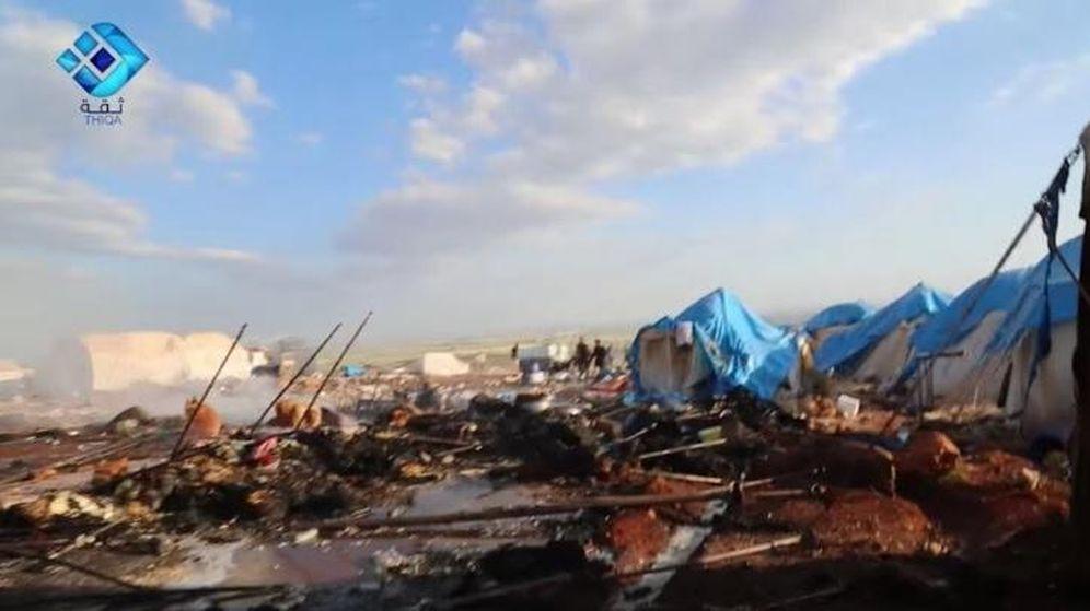 Foto: Así ha quedado el campo de refugiados de Kamouna (Twitter Alicia Kearns)