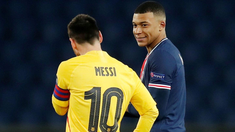 Mbappé y Messi, en el cruce reciente de octavos de final de la Champions. (Reuters)