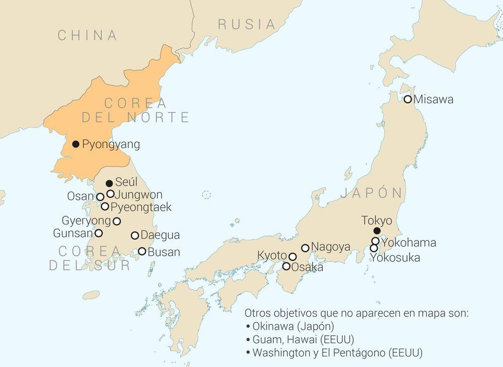 Foto: Mapa de los puntos que Corea del Norte pretende atacar con armas nucleares en caso de guerra. (EC Lab/ECFR)