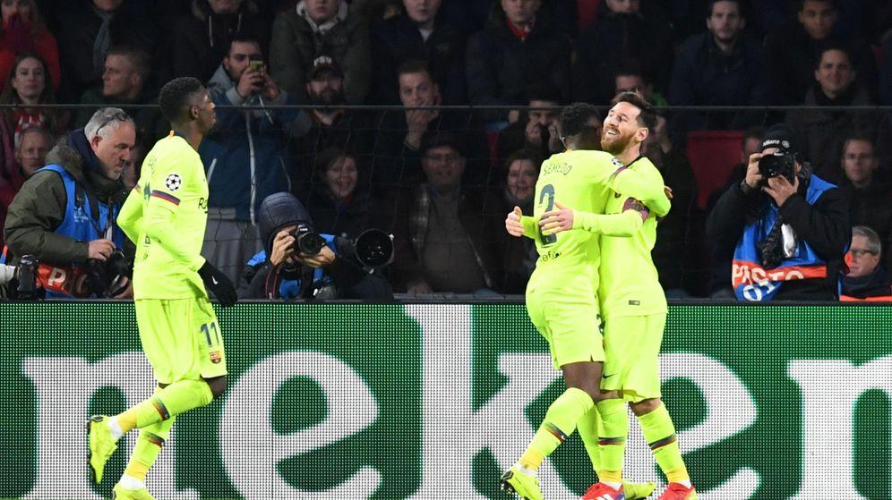 Foto: Sin Luis Suárez, Messi hizo de falso nueve ante el PSV Eindhoven. (Reuters)
