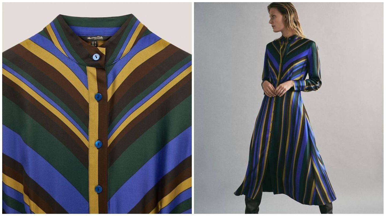 Vestido de rayas de Massimo Dutti. (Cortesía)