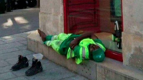 Twitter te lo da, Twitter te lo quita: la foto del barrendero dormido que sacude Francia