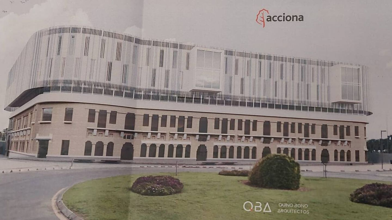 Figuración de la residencia de estudiantes de Acciona sobre el edificio de los 'docks' en Valencia.