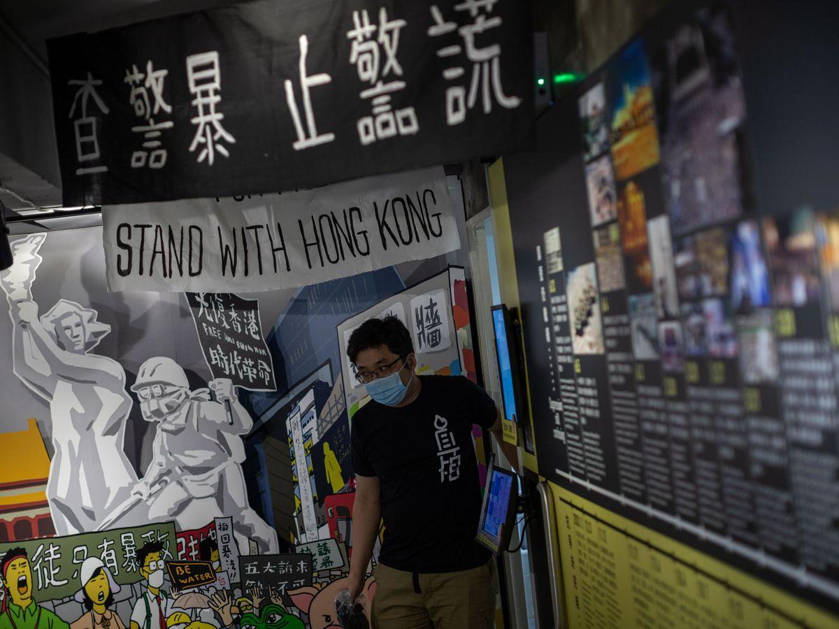 Foto: Activistas prodemocracia en Hong Kong este 20 de mayo. (EFE)