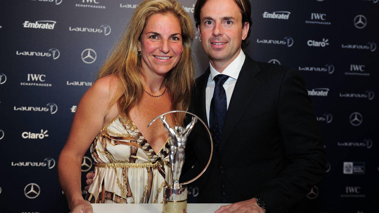 Arantxa Sánchez Vicario y Pep Santacana, en los premios Laureus de 2013. (Getty)