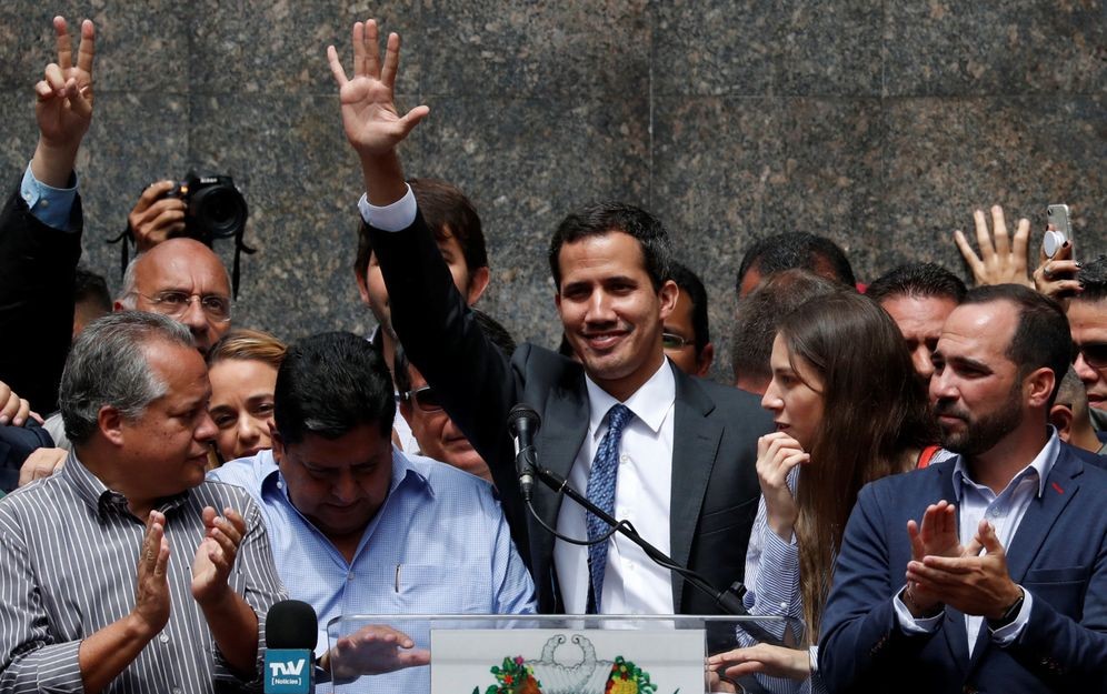 Foto: El líder opositor venezolano Juan Guaidó durante el mitin en Caracas. (Reuters)