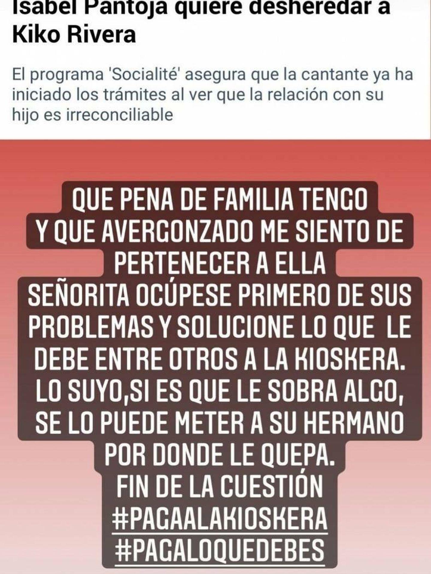 El ataque de Kiko Rivera a Isabel Pantoja. (Instagram @riverakiko)