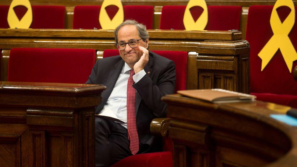 Foto: El presidente de la Generalitat, Quim Torra, durante la segunda jornada del debate de política general. (EFE)