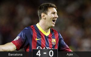 El Barça desafina pero Messi se basta para despachar al Ajax