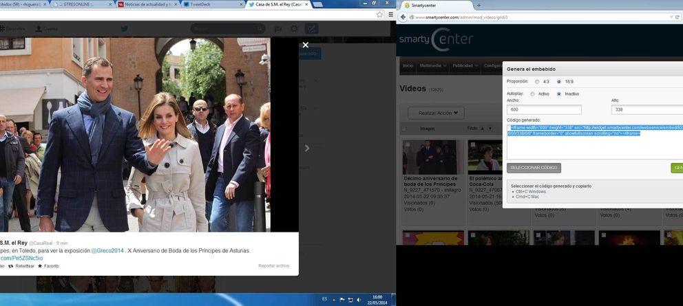 Foto: Imagen de los Príncipes de Asturias paseando por las calles de Toledo colgada en el Twitter de Casa Real