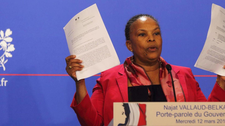 La ministra de Justicia Christiane Taubira durante la rueda de prensa (Reuters).