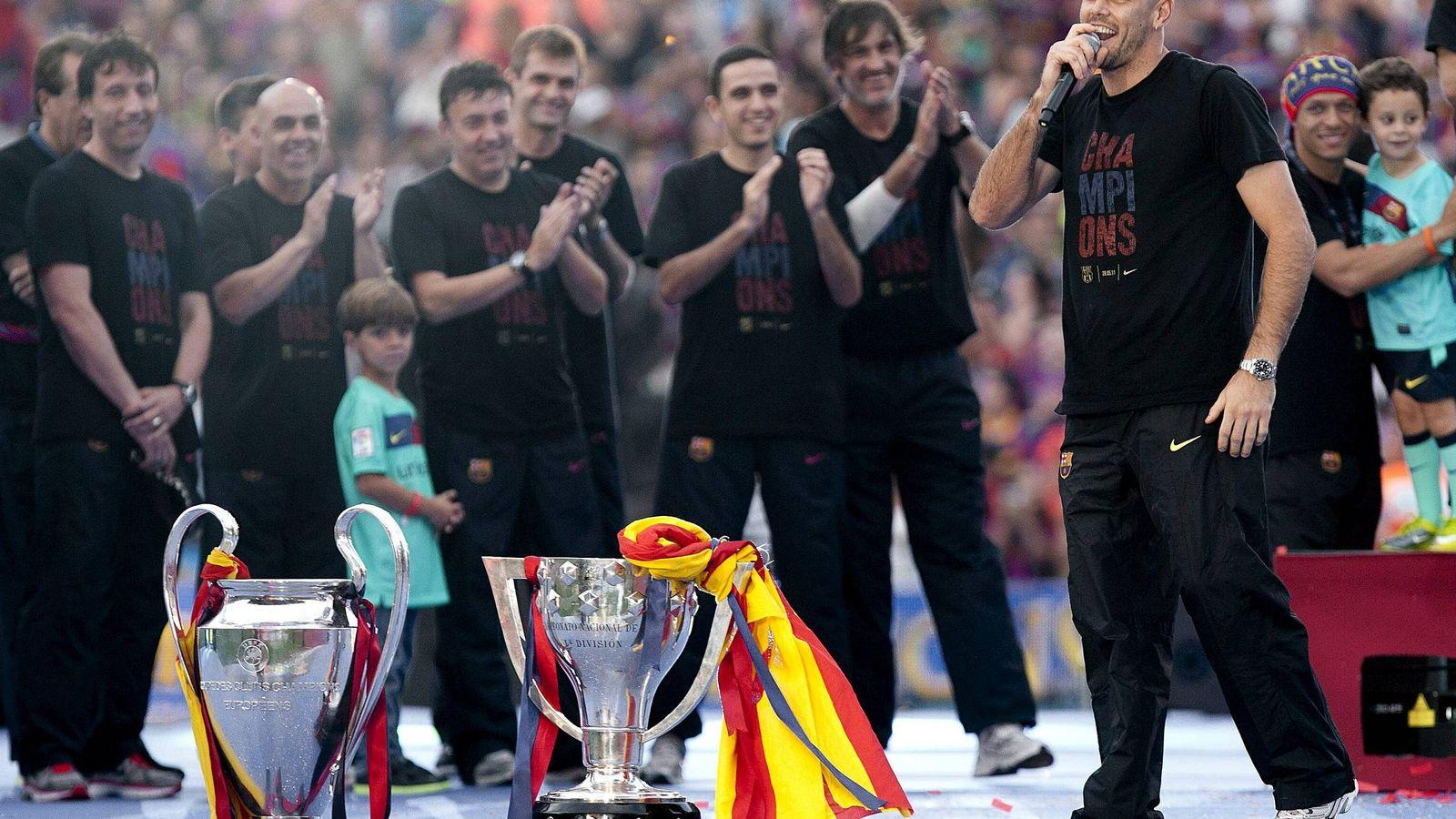 Foto: Valdés, durante la celebración de la Liga de Campeones ganada por el Barça en Wembley. (EFE)