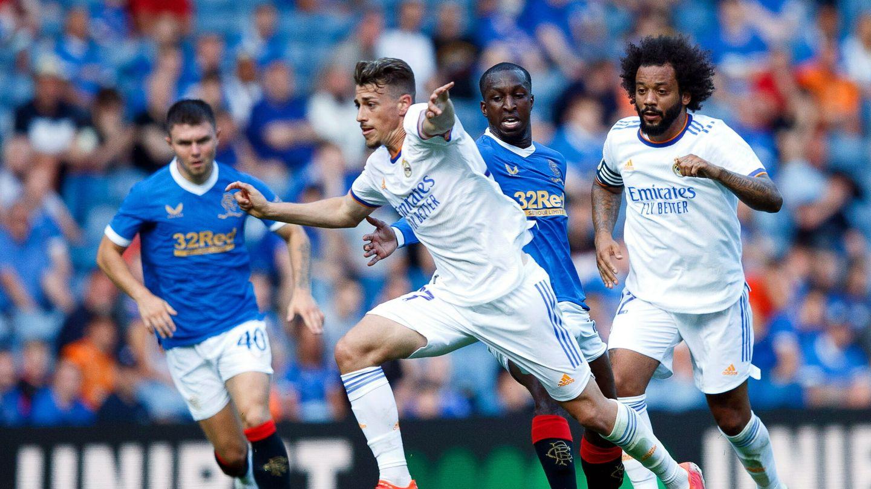 Antonio Blanco, junto a Marcelo en el amistoso ante el Rangers. (EFE)